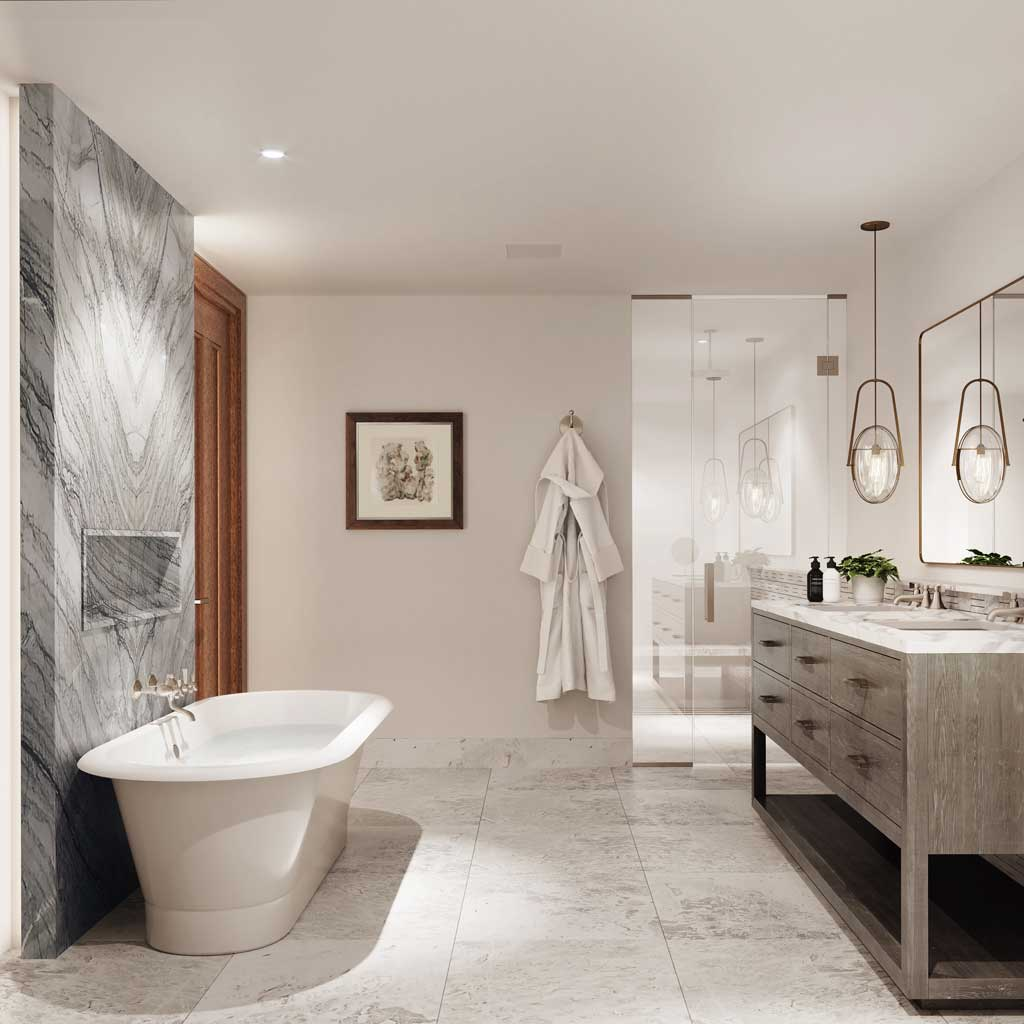The Snow Park Residences at The St. Regis Deer Valley - Bath Rendering