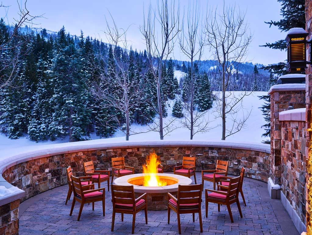 The St. Regis Deer Valley Fire pit in Winter